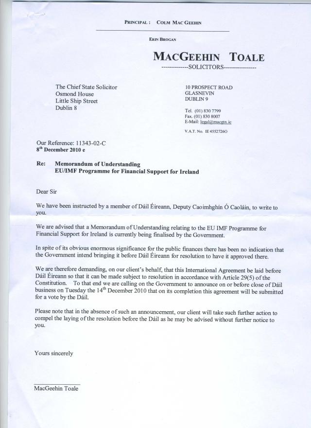 Caoimhín Ó Caoláin's Solicitor's letter