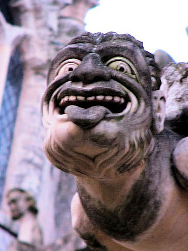 Gargoyle head on cathedral